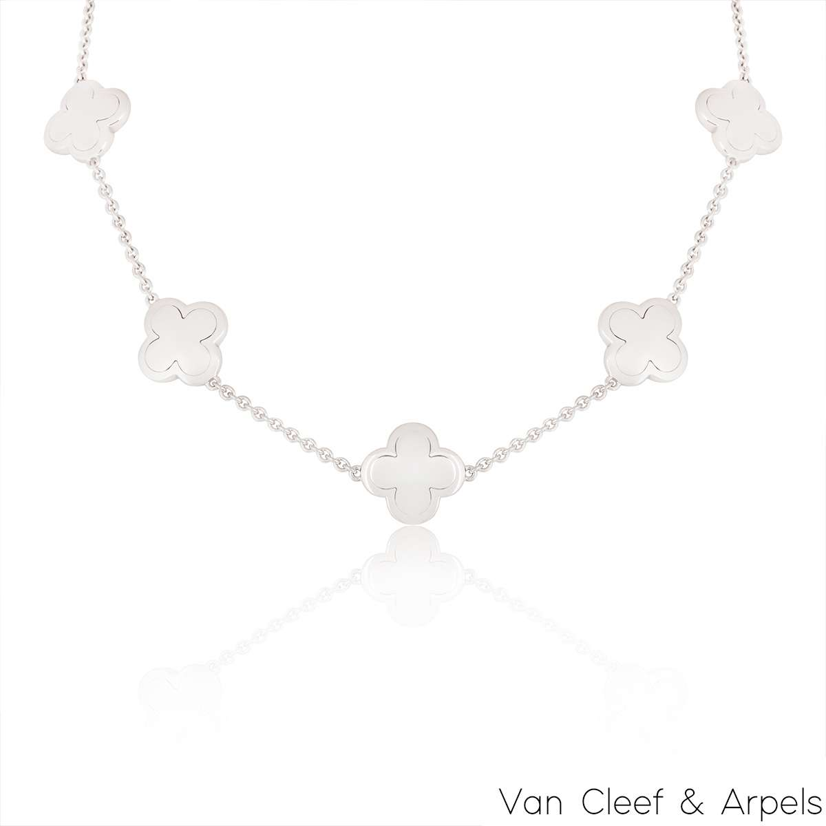 Van Cleef & Arpels White Gold Alhambra Necklace